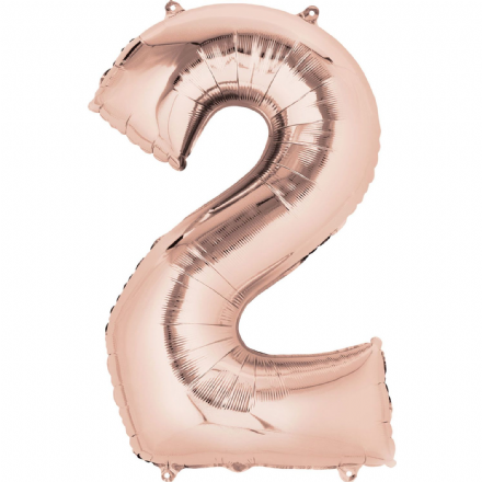 Number 2 Rose Gold Mini Air-Fill Foil Balloon